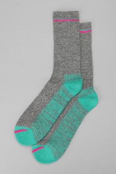 "UO O'Hanlon Mills multi marled camp #socks, $12    • ""Marled"" yarn is ""made from strands of different-colored yarn twisted together, sometimes in closely related hues."" (http://en.wikipedia.org/wiki/Yarn)"