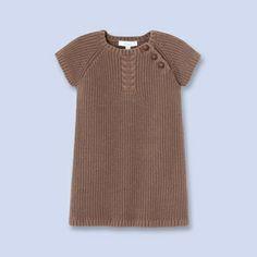Buttoned cable knit dress - Girl - MOKA - Jacadi Paris