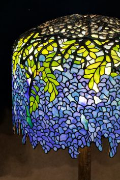 Quot Wisteria Quot Table Lamp Shade With Small Early Tag Impressed Tiffany Studios New York Leaded Glass