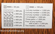 Official Farkle rules for when you have 6 dice laying around