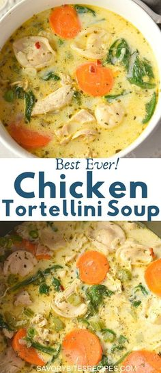 Try this best,easy and healthy recipe of creamy chicken tortellini soup.This tortellini soup is with lots of veggies of Recipes Using Rotisserie Chicken, Chicken Soup Recipes, Crockpot Recipes, Cooking Recipes, Healthy Recipes, Chicken Pasta, Chicken Soups, Crockpot Chicken Tortellini Soup, Chicken Tortillini Soup