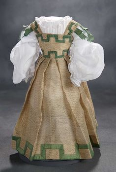 """What Finespun Threads"" - Antique Doll Costumes, 1840-1925 - March 12, 2017: 49 Bengaline Mode Enfantaine Gown with Chemisette and Exceptional Sous-Sleeves"