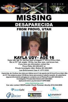 8/3/2014: Kayla Udy, age 16, is #missing from Provo, Utah.