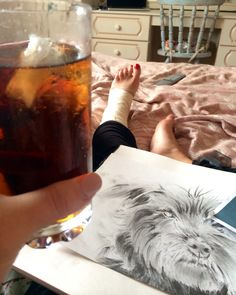 A stiff drink and drawing are the best cure for damaged ligaments it would seem!