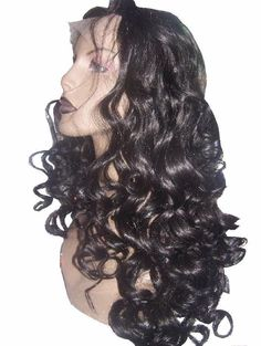 Full Lace Wig Wigs Remi Remy Premium Indian Human Hair Curly Wavy Jet Black #Unbranded #FullWigLACEWIG