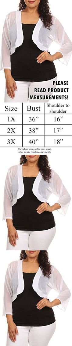 fbdb643a5525 Plus Size Shrug Sheer Three Quarter Sleeve Open Front Cardigan Holiday (1x,  White)