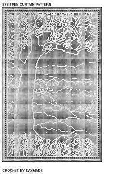 Free Filet Crochet Doily Patterns   928 Tree Scene Filet Crochet Doily Curtain Tablecloth Pattern ...