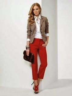 Spring is coming. A great pair of Capri's or cigarette pants in pink, red or green are needed.