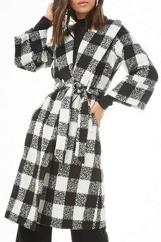 72708f38a32d Forever 21 Buffalo Plaid Longline Coat Plaid Jacket