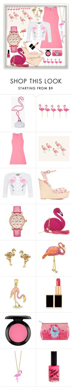 """""""Flamingos Are IN!"""" by giovanina-001 ❤ liked on Polyvore featuring Sunnylife, Elizabeth and James, Rifle Paper Co, Sophia Webster, Michele, Skinnydip, Orelia, Kevin Jewelers, Tom Ford and MAC Cosmetics"""