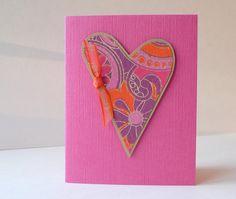 Handmade Valentine Card heart ribbon art paper pink par newnanc