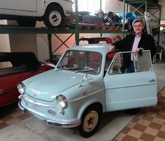It's a private collection acquired by engineer Stefan Voit, 68, seen here proudly displaying an NSU Prinz model in which he went on his first vacation.
