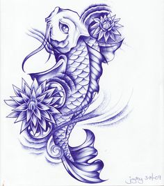 Koi Fish Tattoo Sketch | Ball Point Koi and Lotus by Joytoy