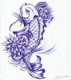 Koi Fish Tattoo Sketch | Ball Point Koi and Lotus by Joytoy