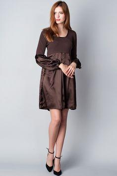 x Коричневое комбинированное платье B.Young