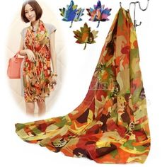 Four Seasons Printed Pure Silk Chiffon Scarf