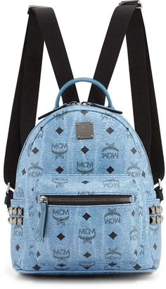 MCM Stark Visetos Mini Backpack, Denim