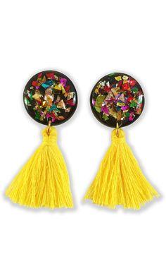 Product Photo Yellow Tassel Earrings, Yellow Jewelry, Circle Earrings, Tassel Necklace, Wooden Earrings, Wooden Jewelry, Diy Earrings, Statement Earrings, Tassels