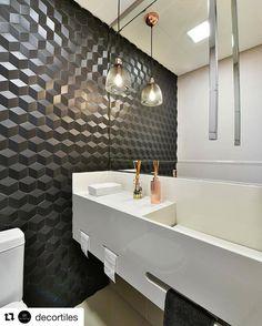 """359 curtidas, 12 comentários - BEATRIZ FABRI (@arqbfabri) no Instagram: """"Nosso projeto da página da Decortiles Esse banheiro fizemos para o escritório de um cliente muito…"""""""