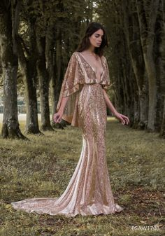 PSAW1703 - Caped gown with molten rose gold embroidery
