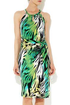 Green Animal Print Halter Neck Dress
