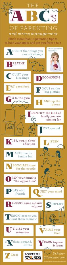 The ABC's of Parenting #Stress #Tips For more of Dr Robyn's tips visit http://www.drrobynsilverman.com/category/parenting-tips/