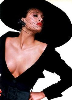 Bill King for American Vogue, October 1986. Dress by Yves Saint Laurent.