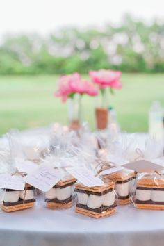 enchanted forest wedding, farm wedding, rustic wedding, favors, s'mores, smores, s'more love, marshmallow graham cracker chocolate
