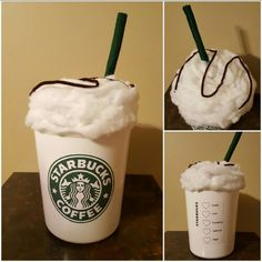 Starbucks cup Valentine box  Small white trash can Small plate cover (for the microwave) Quilt batting cut in strips and glued onto lid Green felt rolled for straw Brown pipe cleaners for drizzle  Logos printed and glued to can