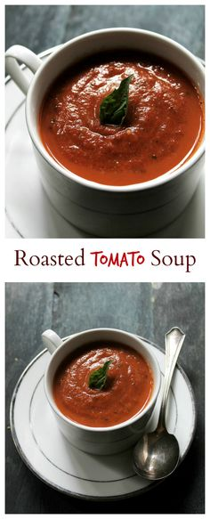 {USA} A delicious Roasted Tomato Soup made with garden fresh tomatoes, garlic, onions, and basil.
