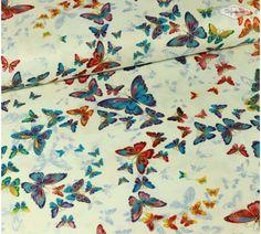 Allover Butterflies - De Stoffenkamer   Stof + vlinders + mooie kleuren = must have!