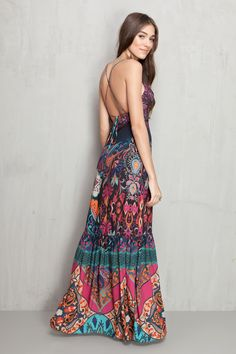 vestido longo estampado gypset - Vestidos | Dress to