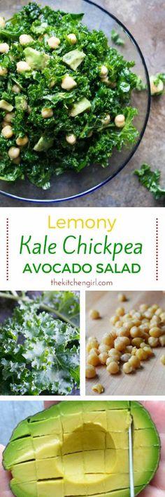 Crush nutrition goals with Lemony Kale Chickpea Avocado Salad from thekitchengirl.com #vegansalad #mealprepsalad #glutenfreerecipe #kalesalad #chickpeas #avocadorecipe