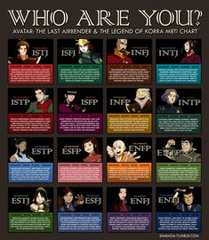 Avatar: The Last Airbender personality types (yay! I am the same as Zuko!) (I'm the same as Aang.and I took a quiz a while ago that said I was the Avatar. I don't want to fix your shit! Avatar Aang, Avatar Airbender, Suki Avatar, Team Avatar, Aang The Last Airbender, Infj, Mbti Istj, Extroverted Introvert, Dante Basco