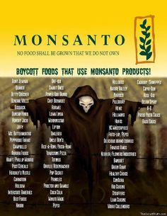 Research this monopolizing company  Monsanto. It's disgusting what's happening with our food. Cancer, allergies, etc. list of foods to not feed your kids and seeds to not buy for your own garden on treehugger.com.