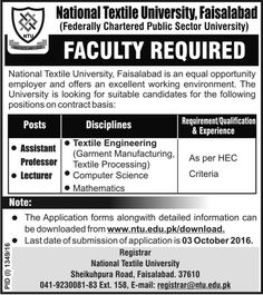 Faculty Required In National Textile University Faisalabad  For #jobs details and how to apply: http://www.dailypaperpk.com/jobs/253558/faculty-required-national-textile-university-faisalabad