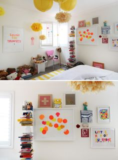 Yellow lamps and pompoms The Design Files