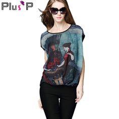 PP Woman Europe 2015 Summer Chiffon Digital Print O-Neck Batwing Casual Plus Size Tops Clothing Blouse Blusa Camisas 4XL