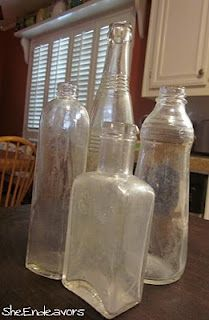 cleaning old bottles, uses coarse kosher salt and dishwashing detergent.  love old bottles so keep this idea handy!