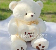 """"""" I love you"""" Plush toys teddy bear 0.9 meters lovers gifts size 90cm white,yellow(China (Mainland))"""
