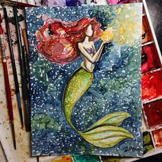 Ariel Little Mermaid disney art painting Disney Dream, Disney Love, Disney Magic, Disney And Dreamworks, Disney Pixar, Disney Drawings, Art Drawings, Pinturas Disney, Ariel The Little Mermaid
