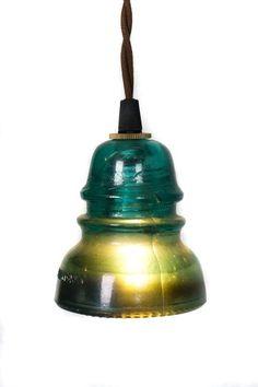 Vintage Repurposed Railroad Telegraph Insulator Pendant Light Green Cute Decor