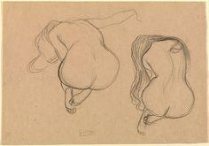 Gustav Klimt - 2 estudos. Lápis vermelho e giz preto s/ papel, 1901-02