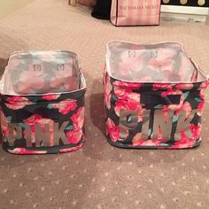 2 VS Pink Storage Bins In Floral Print HARD TO FIND VS PINK STORAGE BINS!