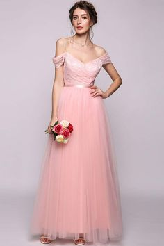 7f85964b6ce ANGVNS Womens Princess Off the Shoulder Floor Length Tulle Bridesmaid Dress  Evening Gown