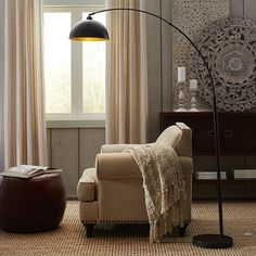 Living Room - Golden Arc Floor Lamp