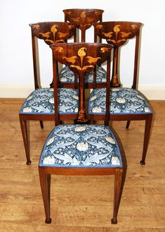 Lovely set of four inlaid Art Nouveau dining chairs in GP&J Baker fabric - Sold by The Sittings Place Dining Chairs, Art Nouveau Furniture, Antiques For Sale, Calla Lily, Fabric, Goodies, Things To Sell, Places, Home Decor