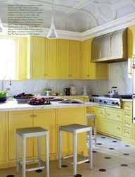 Buttery yellow cabinets- how fun! Interior Design by Julie Hayes. Photograph by Max Kim-Bee. Lemon Kitchen, New Kitchen, Kitchen Dining, Kitchen Decor, Kitchen Ideas, Rustic Kitchen, Kitchen Furniture, Furniture Stores, Küchen Design