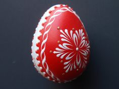 Hand painted egg made in Czechoslovakia | Quail Egg Pysanka, Hand Painted Egg in Red, Easter Egg Pysanky