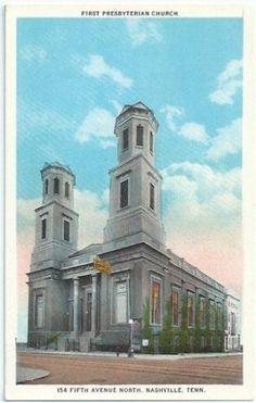 Nashville-Tn-First-Presbyterian-Church-Vintage-Postcard-Tennessee-White-Border  ebay.com